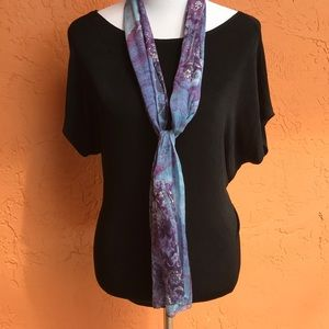Beautiful blue and purple abstract 100% silk scarf